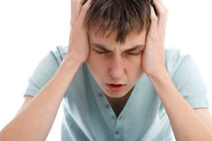 痛苦头疼migrain痛苦重点 库存图片
