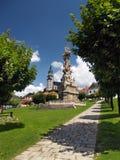 瘟疫专栏和城堡在Kremnica 免版税库存照片