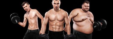 瘦型体质者、体育型体质和endomorph 在结果前后 概念查出的体育运动白色 小组三个年轻体育人-健身模型举行 图库摄影