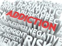 瘾。Wordcloud概念。 免版税库存图片