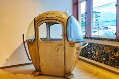 登上卡特琳电车,巴德伊舍,萨尔茨卡默古特,奥地利葡萄酒客舱  免版税图库摄影