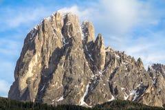 登上在南蒂罗尔的白云岩的Langkofel Sassolungo,它 图库摄影