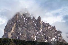 登上在南蒂罗尔的白云岩的Langkofel Sassolungo,它 免版税图库摄影