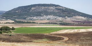 登上塔博尔全景在以色列北部 免版税库存图片