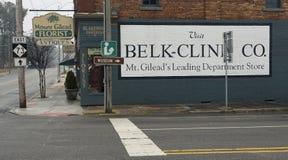 登上Gilead, NC 4月07日2018年:历史纪录艺术壁画贝尔金Cline Co 免版税图库摄影