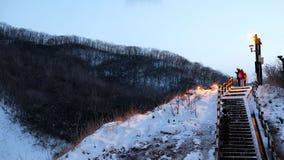 登别市地狱谷在Shikotsu远矢国立公园日本在冬天 免版税库存照片