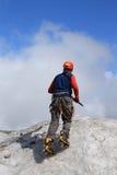 登山人冰川 库存图片