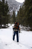 登山人冰蒙大拿 库存照片