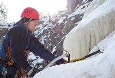 登山人冰 库存照片