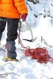 登山人冰 免版税图库摄影