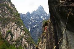 登山人年轻人 库存图片