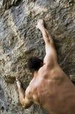 登山人极端岩石 库存照片