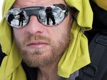 登山人纵向 免版税库存照片