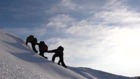 登山家互相移动他们的手在一座多雪的山的上面帮助朋友攀登 配合欲望赢得 股票视频