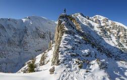 登山家在一个晴朗的冬日到达一个多雪的山峰的上面 图库摄影