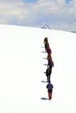 登山家组山顶 免版税图库摄影