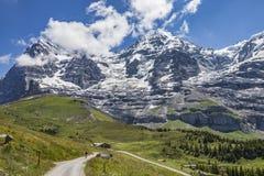 登山车在格林德瓦,瑞士 免版税图库摄影