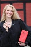 登记友好h法律律师红色微笑下 图库摄影