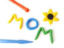 登记妈妈彩色塑泥 库存图片