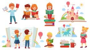 登记孩子读 动画片儿童图书馆,愉快的孩子读了书和书架被隔绝的传染媒介例证 库存例证