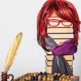 登记概念教育查出的老 秀丽有豪华红色头发的老师女孩 免版税图库摄影