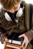 登记男孩前耳机视图 免版税库存照片