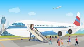 登陆从一架飞机的人们在机场 登陆 也corel凹道例证向量 皇族释放例证