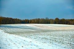 登陆在用与无处的冬天白色雪报道的一个培养的领域留给棕色土壤和多云天空pretendin光秃的土块  库存图片