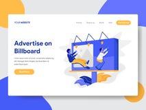 登陆的页模板在广告牌概念做广告 网页设计的现代平的设计观念网站和机动性的 库存例证