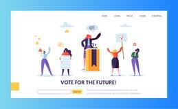 登陆页模板的投票的竞选 人们 向量例证