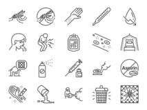 登革热线象集合 包括象当登革热病毒、蚊子凶手、杀虫剂、预防、蚊帐和mo 库存例证