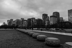 黑白东京的地平线 库存照片
