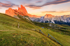 白云岩阿尔卑斯在夏天 库存照片