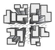 黑白传染媒介城市的顶视图 免版税库存图片