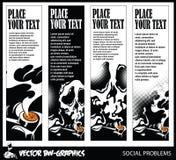 黑白传染媒介横幅 导航在抽烟的危险的题材的横幅 图库摄影