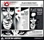黑白传染媒介横幅 有枪的女孩 在头骨眼里 免版税库存图片