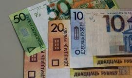 白俄罗斯共和国国家银行的钞票的图象 库存照片