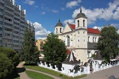 白俄罗斯圣洁传道者彼得和保罗的ortodox Ð ¡ athedral教会在米斯克,白俄罗斯 免版税库存照片