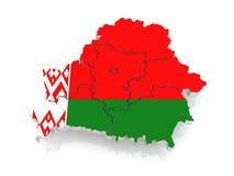 白俄罗斯的三维地图。 库存图片