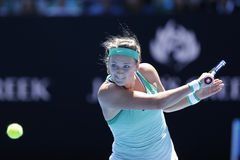 白俄罗斯的全垒打冠军维多利亚・阿扎伦卡行动的在她的在澳网的回合4比赛期间2016年 库存图片