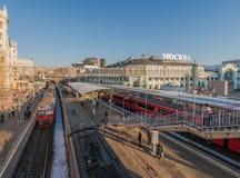 白俄罗斯语火车站在莫斯科 免版税库存照片