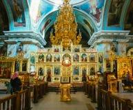 白俄罗斯语的东正教大教堂内部  免版税图库摄影