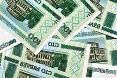 白俄罗斯语的100卢布钞票 库存照片