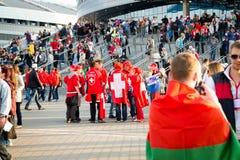 白俄罗斯语米斯克、的白俄罗斯- 5月9日-,瑞士人和Ru 免版税库存照片