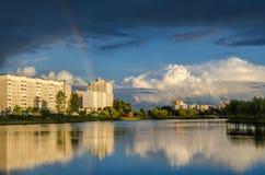 白俄罗斯,戈梅利,夏天晚上在度假区 库存照片