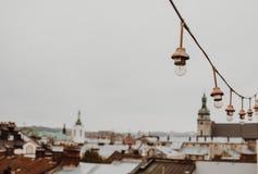 白光电灯泡诗歌选垂悬反对灰色天空的室外 特写镜头街道照明,拷贝空间 库存图片