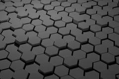 黑白六角形瓦片 免版税图库摄影