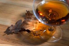 白兰地酒和干橡木叶子 免版税库存图片