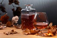 白兰地酒和烘干橡木叶子 库存照片
