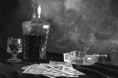 白兰地酒和玻璃 库存图片